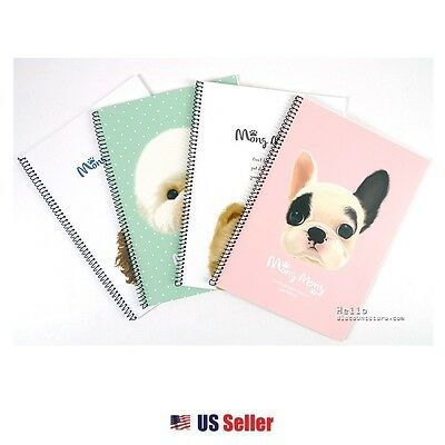 Pinkfoot Mong Mong Cute Puppy Spiral Lined Notebook Note Pad Set of 4