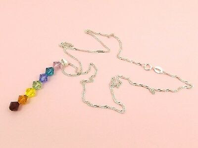 CHAKRA 925 STERLING SILVER Wave CHAIN Made with SWAROVSKI Crystal Chain NECKLACE
