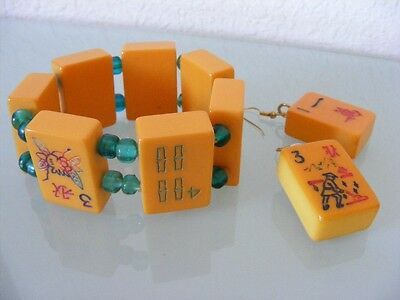 MahJong DOMINO Game BAKELITE Cube Stretch Bangle Bracelet Earrings Set 1940's