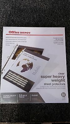 Office Depot Super Heavy Weight Sheet Protectors - 5.0 MILS THICK! Pack of 50pcs