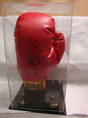 Signed Manny Pacman Pacquiao glove in BOXING GLOVE GOLD RISERS DISPLAY CASE