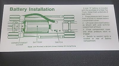 Hess 1972 / 74  TANKER TRUCK  BATTERY INSTRUCTION CARD