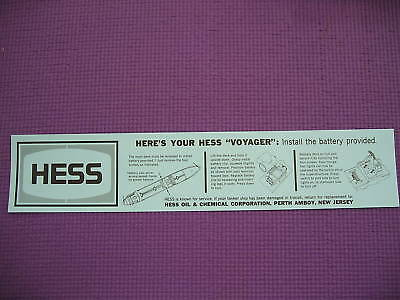 Hess 66 VOYAGER SHIP BOAT BATTERY INSTRUCTION CARD NEW
