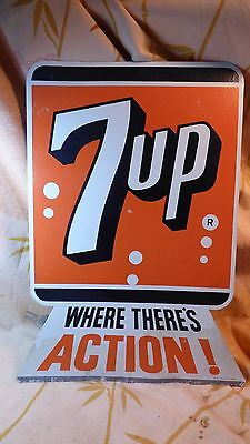 """Vintage 7UP Counter Stand Up Easel Sign """"Where There's Action!""""- Soda Pop"""