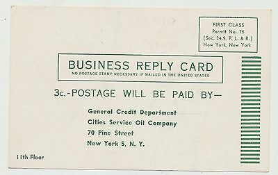 Vintage 1950's Cities Service Oil Co Credit Card Pre Paid Postcard Application