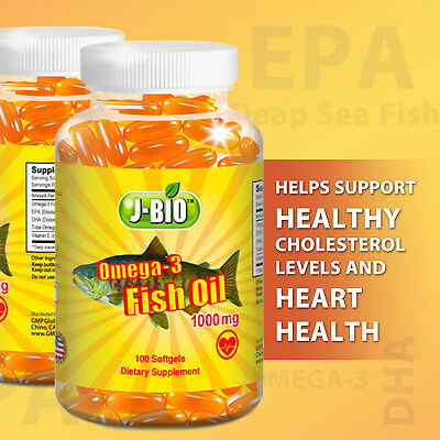 J-Bio Fish Oil Omega-3 1000 mg 100 ct softgels vitamin E supplement EPA DHA