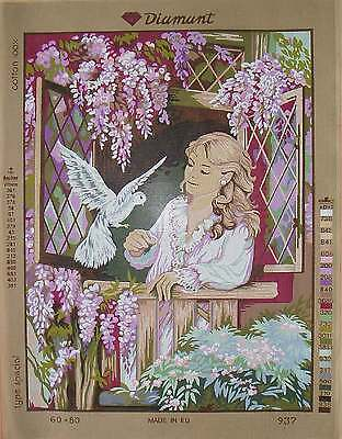 Diamant needlepoint- Beautiful woman #2 C937- Large canvas 19.5 x 27.5""