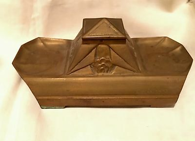 Antique French Art Deco Bronze Inkwell Stand Signed A. Marionnet Depose