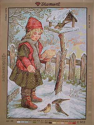 Diamant needlepoint- Girl feeding birds C912- Large canvas 19.5 x 27.5""