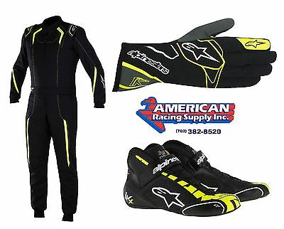 Alpinestars Novice Kart Kit Black/Yellow KMX5 Suit,T-1K Gloves T-1K Start Shoes