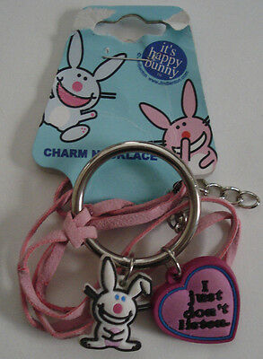 "Happy Bunny Jewelry Suede Necklace with Rubber Charms ""i just don't listen"" NOC"