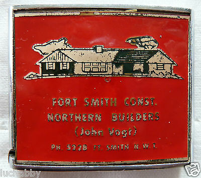 Vintage Tape Measure Fort Smith NT Canada Metal Advertising Northern Builders CA