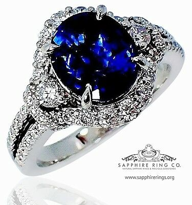 GIA Platinum 3.99 tcw Blue Oval Cut Ceylon Sapphire & Diamond Wedding Ring