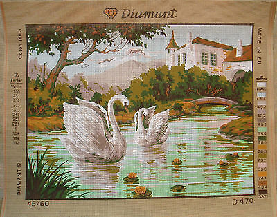 Diamant needlepoint Swans D470 -Large canvas apr 15 x 20""