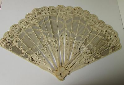 Antique Carved Pierced Detailed Cow Bone Hand Fan For Repair