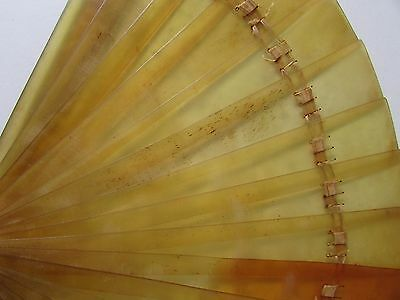 Antique Faux Tortoise Shell Amber Color Hand Fan Eventail For Repair