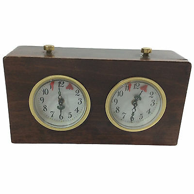 Vintage Tournament Chess Scrabble Timer Wind Up ~ Wood Case ~ Works~Winds Easily