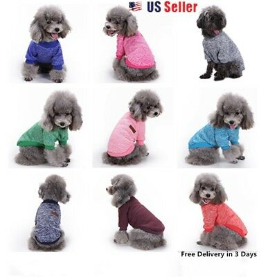 Small  Pet Dog Puppy Cat Winter  Sweater  Coat Jacket Clothes  Apparel 10 Colors
