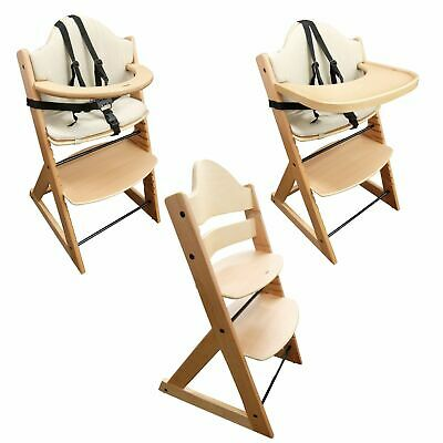 Wooden Baby Highchair | 3-in-1 Kids Wooden Highchair (Beech) (with Tray and Bar)