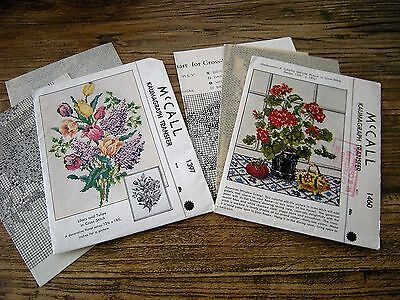 Vtg 1940s McCall Kaumagraph Stamped Transfer Cross Stitch Pattern Lot Flowers