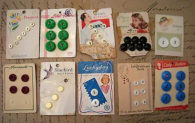 Vtg 1940s 50s lot button cards Luckyday Pearl Lady Washington Glamour Girl Retro