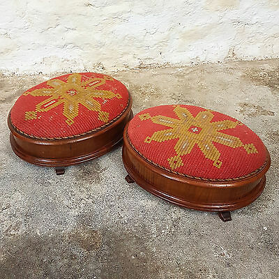 Victorian Pair of Mahogany Tapestry Upholstered Oval Foot Stool C1870 (Antique)