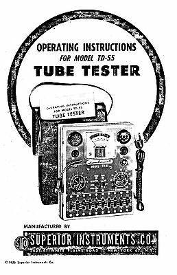 Manual & Setup Data Charts for Superior Instruments SICO TD-55 Tube Tester