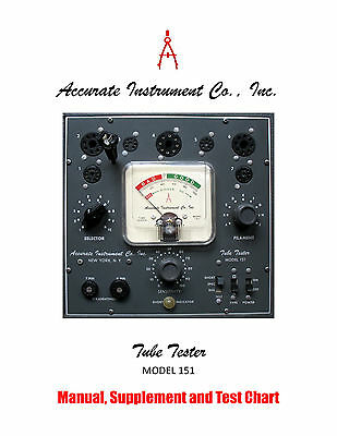 Manual for Accurate 151 Tube Tester, Instructions Schematic Charts & SUPPLEMENT!