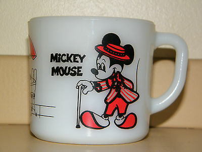 Vintage Mickey and Minnie Mouse Sidewalk Café Mug by Anchor Hocking