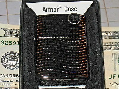 Deep Carved Wave Ridge Armor Hi-Pol Black Chrome Case New ZIPPO Lighter Flame US