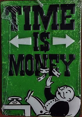 """NWT Metal Sign - Monopoly's Rich Uncle Pennybags - Time is Money, 6""""T x 4.12""""W"""