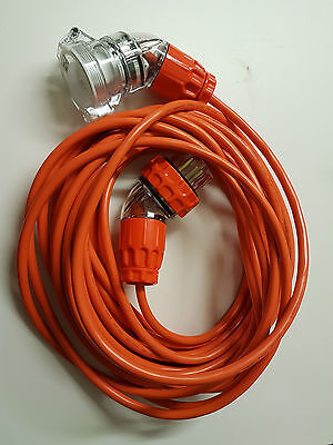 3 Phase 20 Amp 4 Pin Extension Lead 2.5mm 20 metres Orange Flex - Personalised