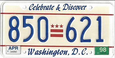 Washington District of Columbia License Plate - 1998 - 850 621