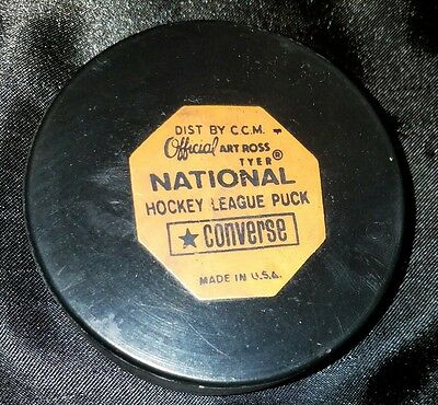 Vintage NHL Converse CCM Official ART ROSS game puck  Used Toronto Maple leafs