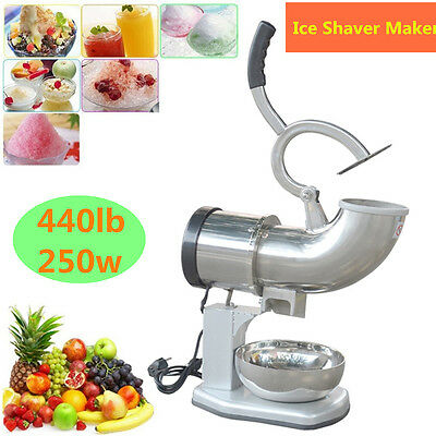Stainless 440LBS Ice Shaver Machine Snow Cone Maker Shaved Icee Electric Crusher