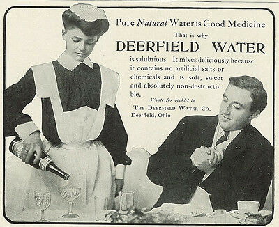 1904 Deerfield Water Maid Server Man Clasping Hands Vintage Original Print Ad