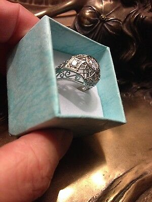 Vintage Art Deco Style Filigree sterling silver QUALITY cz ring