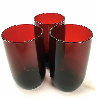 Vintage Ruby Red Glass Set of 3 Tumbler Drinking Glasses 1970s Trio