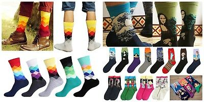 Mens Novelty Colourful Happy Socks Casual Striped Art Abstract Painting Socks