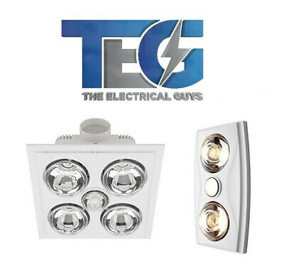 Crown Bathroom 3 In 1 Ceiling Light Heater Exhaust Fan White/silver 2  Heat Lamp