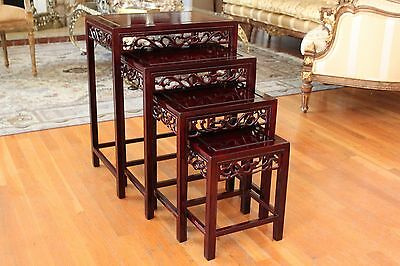 Chinese Antique carved Mahogany wood Nesting Table Set Of 4