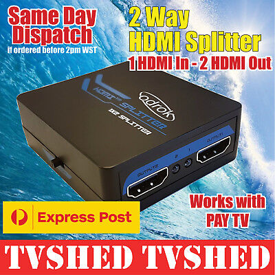2 Way HDMI Splitter Free Express Shipping work with Pay TV