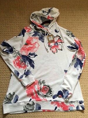 Joules Marlston Ladies Hooded top BNWT white rose 18