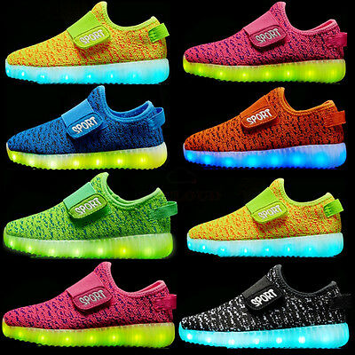 Boy Girl Upgraded USB Charging LED Light Shoes for Kids Flashing Sneakers