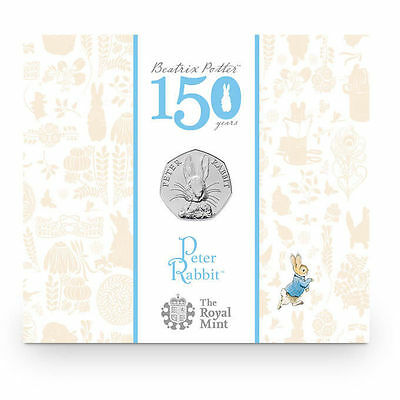 "2016 United Kingdom (UK) 50p BU Coin ""Beatrix Potter's Peter Rabbit"" in Folder"