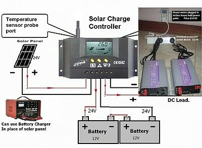 Intelligent Battery Charge Controller Solar or Charger 12V/24V ( 30AMP ~ 750W)