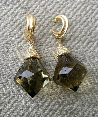 NEW Vtg Faceted Olive Green Lucite Jewel Gold Byzantine Earrings Acorn Cap
