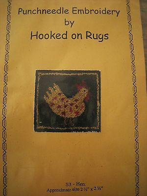 NEW Hooked on Rugs Punchneedle Embroidery Pattern Hen Chicken Primitive Folk Art