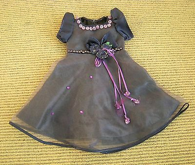 Maplelea Doll Party Dress fits American Girl Purple Rosette Beads Gauze Satin