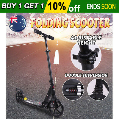 Folding Scooter Commuter Big Wheel Suspension Fashion Scooter Adult Child Black
